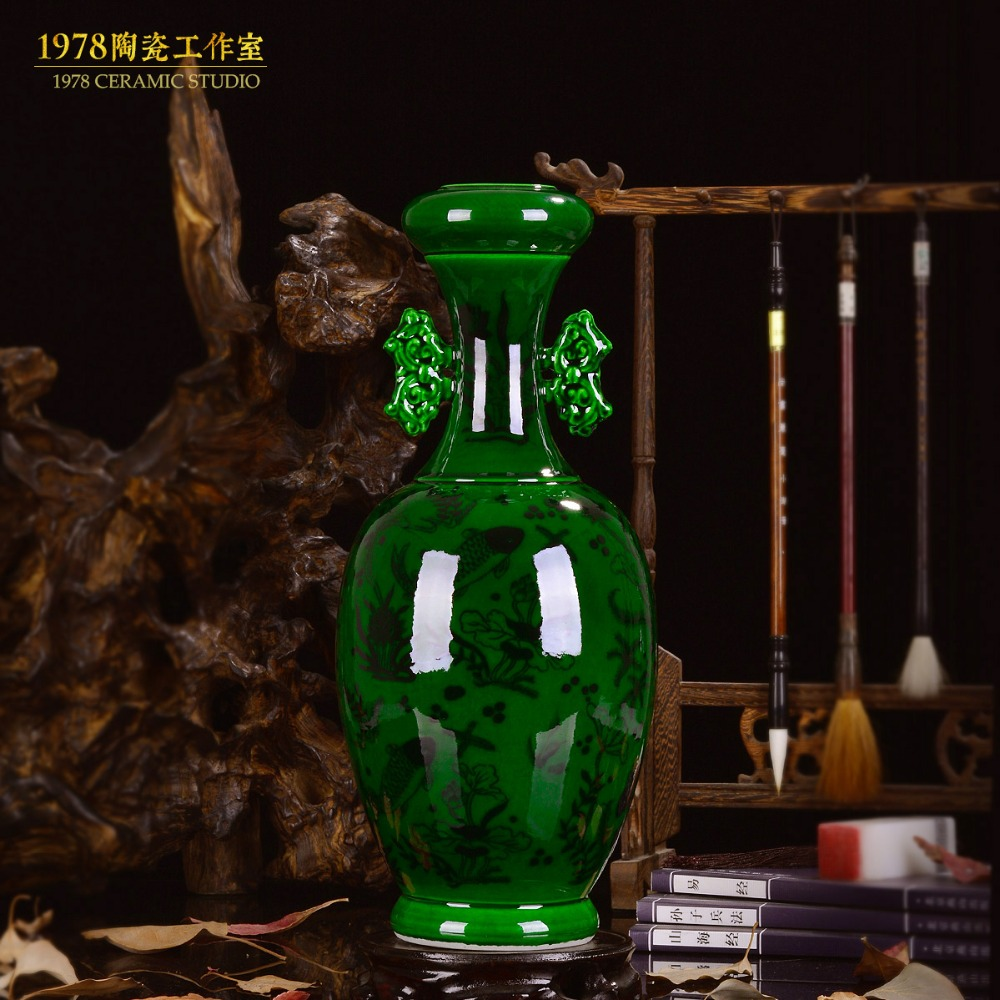 Керамика зеленая глазурь jade ваза с двумя ручками украшения гостиная античная ваза синий и белый фарфор