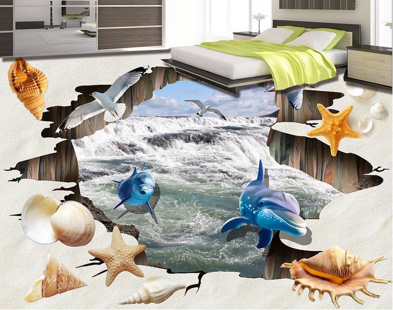 ФОТО 3d flooring custom pvc wallpaper 3d floor Waterfall Beach wallpapers for living room 3d floor self adhesive pvc vinyl flooring