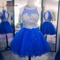 Королевского синего цвета, Короткие Homecoming платья Роскошные Кристаллы мини для женщин; Большие размеры 8th Класс для выпускного, коктейльной
