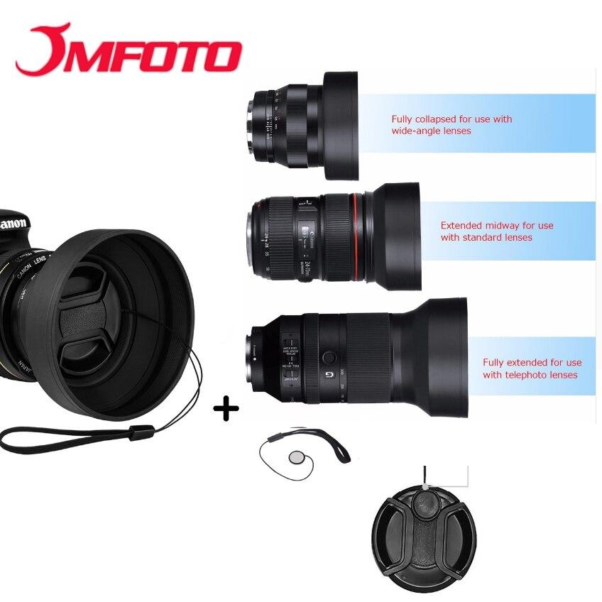 Pare-soleil en caoutchouc Tele grand Angle Standard 49mm 52mm 58mm 55mm 62mm 67mm 72mm 77mm téléobjectif + capuchon Lente pour Canon Nikon Sony