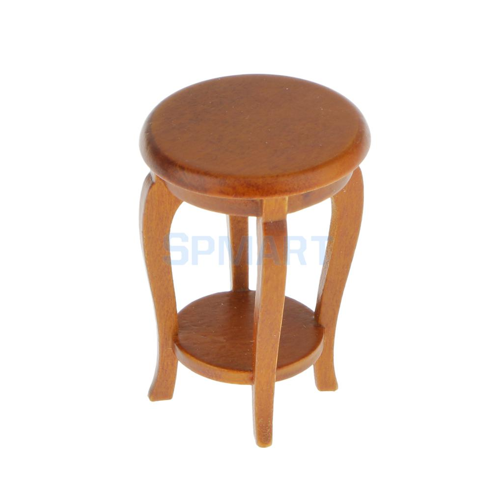 US $3.56 34% OFF|Dollhouse Miniature Furniture Walnut Wooden Round Stool  Kitchen Side Table Seat 12th Scale-in Furniture Toys from Toys & Hobbies on  ...