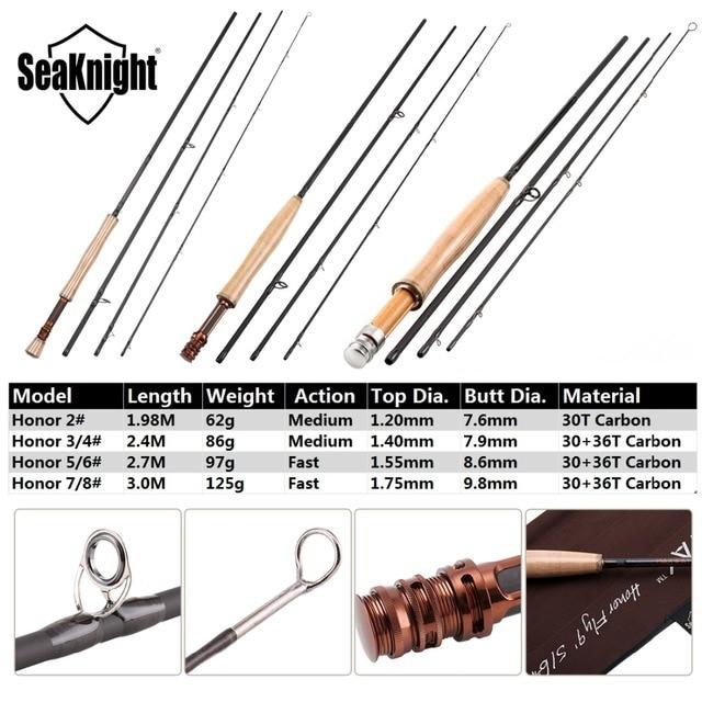 SeaKnight MAXWAY Fly Rod Honor 6/7/9/10FT 4 Sections Fly Fishing Rod FUJI Ring Carbon Fiber Rod Medium Fast Action River Fishing 2