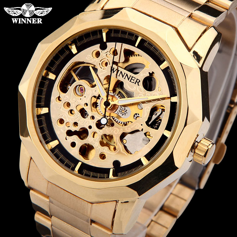 лучшая цена WINNER brand watches men mechanical skeleton wrist watches fashion casual automatic wind watch gold steel band relogio masculino