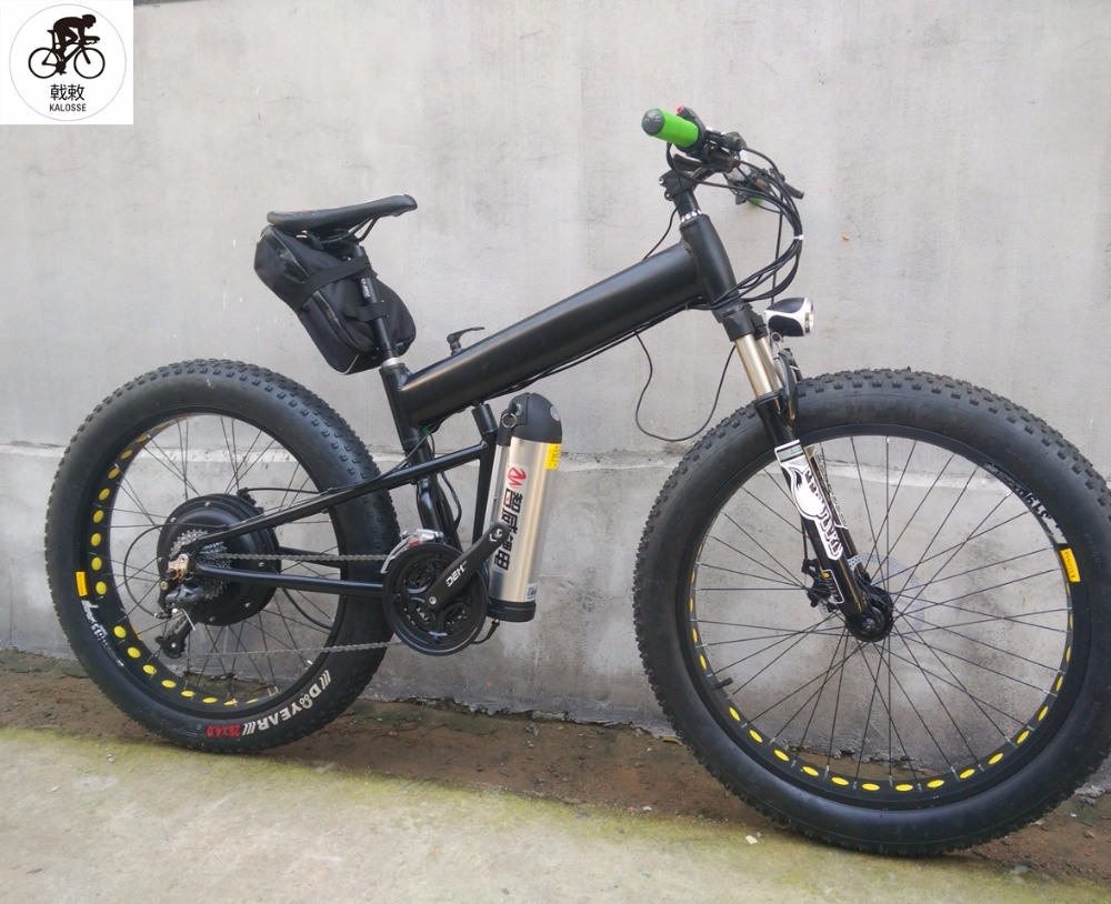 44002c71092 Kalosse 57km/h Beach bicycle electric mountain bike 26*4.0 electrical snow  bike 48V 1000W motor 27 speed M370 -in Electric Bicycle from Sports ...