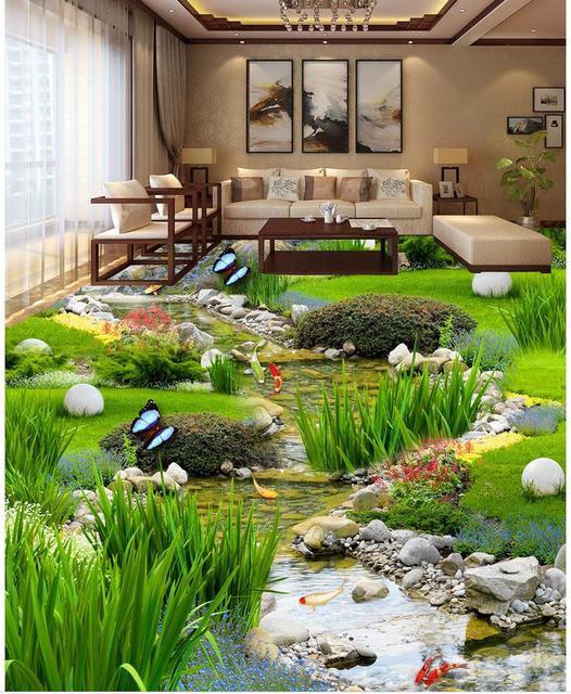 Papier peint personnalisé de plancher de photo 3D plancher d\'herbe de  jardin poisson d\'eau auto-adhésif 3D plancher imperméable de PVC