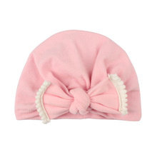 2018 Brand New Lovely Baby Kids Unisex Lacework Style Bowknot Hat Turban Cotton Beanie Winter Warm Cap Solid Caps