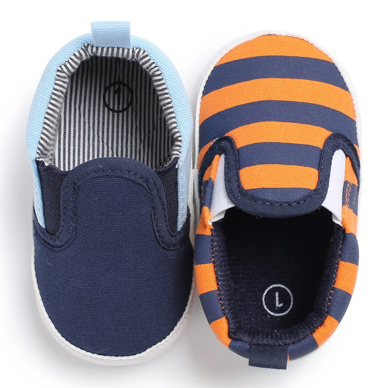 0-18M Newborn Boys Girls Toddler Shoes Spring Classic Canvas Striped Sports Shoes Shallow Lazy Baby Shoes