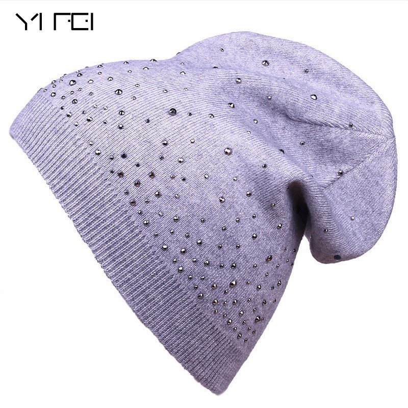 YIFEI 2017 Women's Winter Hat Knitted Wool Beanie Female Fashion Skullies Casual Outdoor Mask Ski Caps Thick Warm Hats For Women fibonacci winter hat knitted wool beanies skullies casual outdoor ski caps high quality thick solid warm hats for women