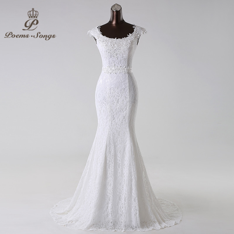 Poemssongs Beautiful Lace Flowers  Mermaid Wedding Dress Vestidos De Noiva Robe De Mariage Bridal Dress  Free Shipping