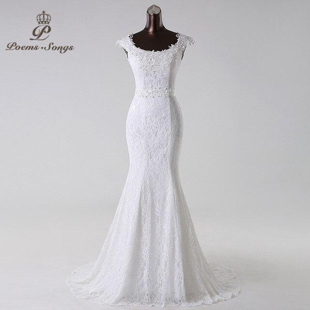 Poemssongs פרחים יפים תחרה בת ים vestidos דה noiva שמלת כלה משלוח חינם robe de mariage