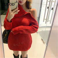 RUGOD Turtleneck Women Long Sweater Solid Casual Plus Size Women Pullovers Knitted Thick Warm Winter Clothes christmas sweater