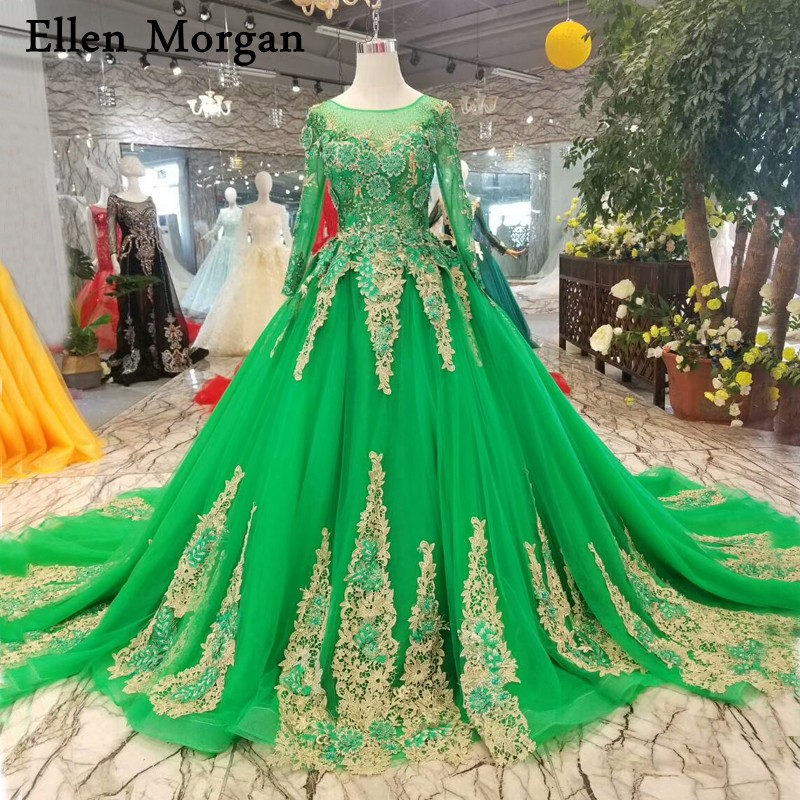 Long Sleeves Colorful Green Wedding Dresses For Women Boat Neck Embroidery Beaded Gold Lace Tulle Saudi Arabian Bridal Gowns