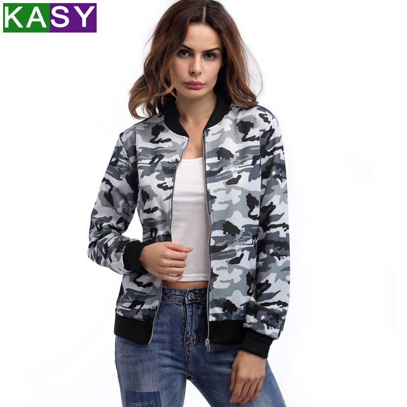 Women Spring Autumn Coat Camouflage   Jacket   Women Casual Zipper   Basic     Jacket   Autumn Fashion Coats Outerwear Blusas Tops