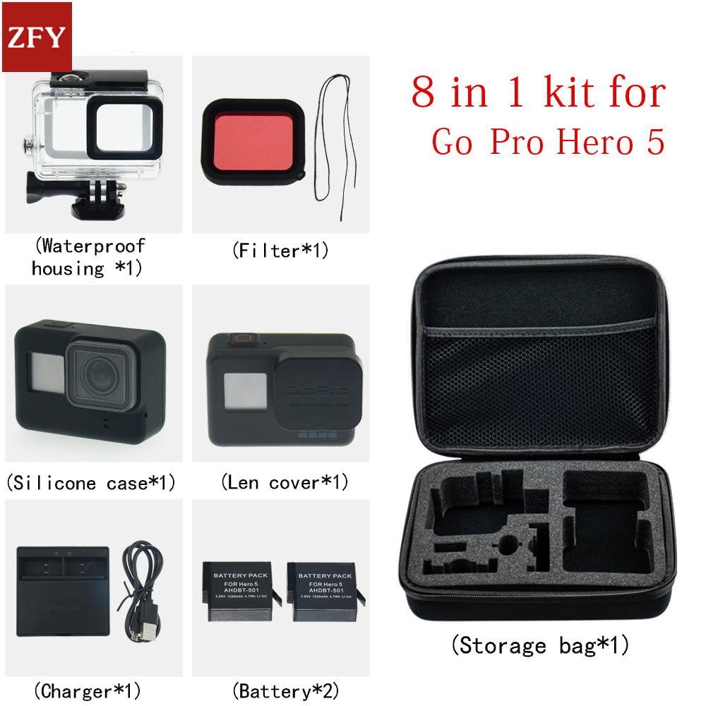 Go pro accessories set hero waterproof protective case Silicone case battery for