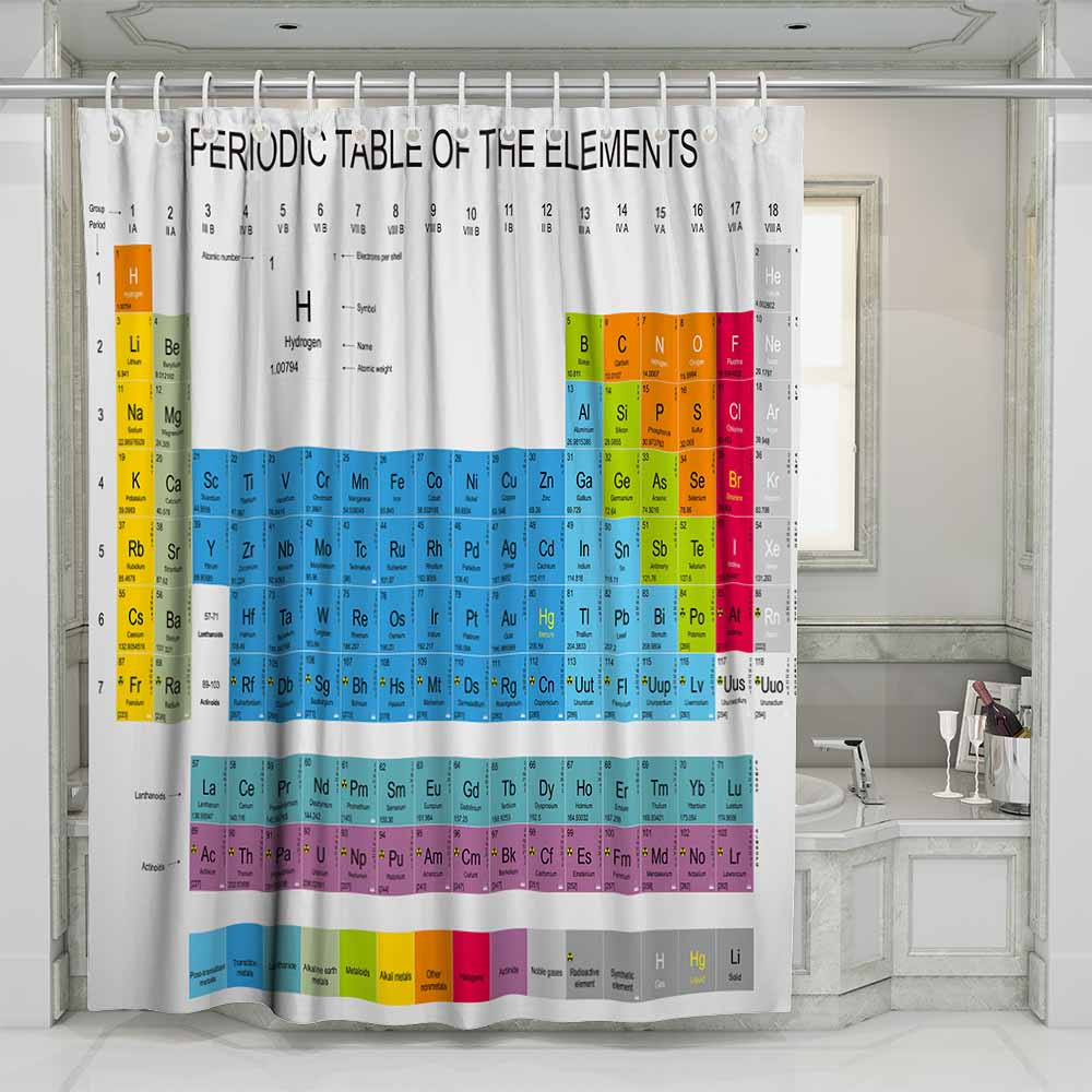 3D Periodic Table of Elements Beach Shower Curtain Bathroom Waterproof Polyester Printing Curtains for Bathroom Shower