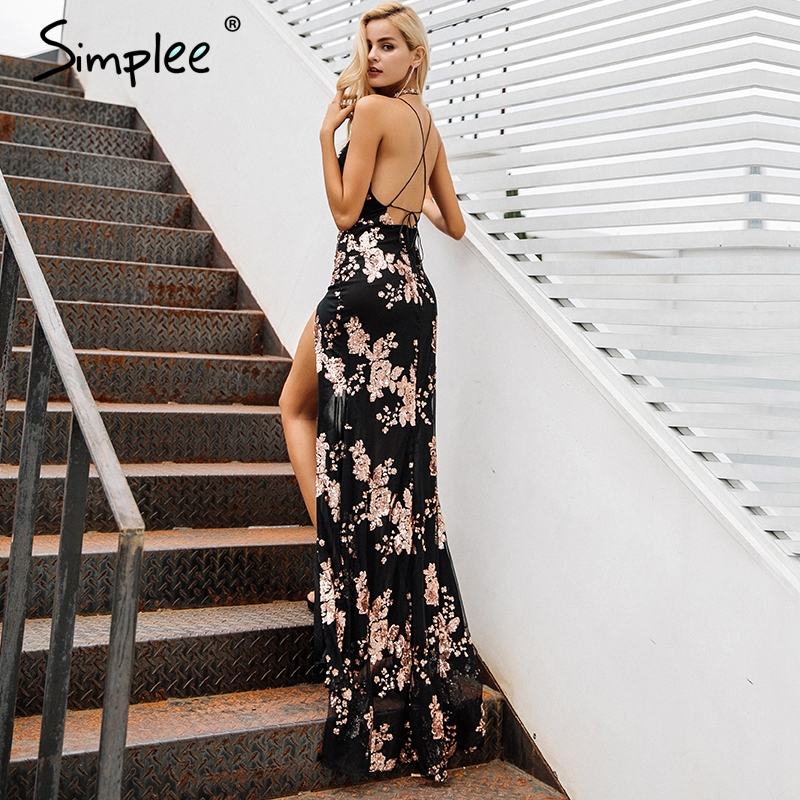 Simplee Sexy lace up halter sequin party dresses women Backless high split maxi dress women Christmas 2017  long dress vestidos 1