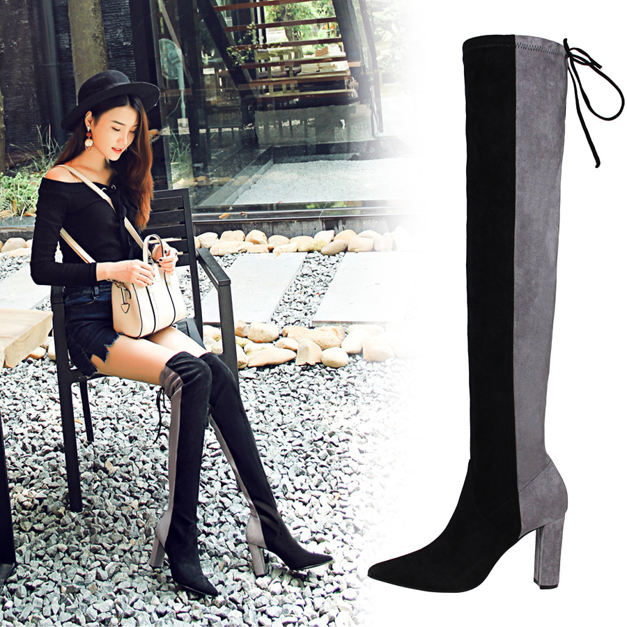 2017 autumn and winter new style tube boots thick with high heel suede sexy night club was thin spell color knee boots female
