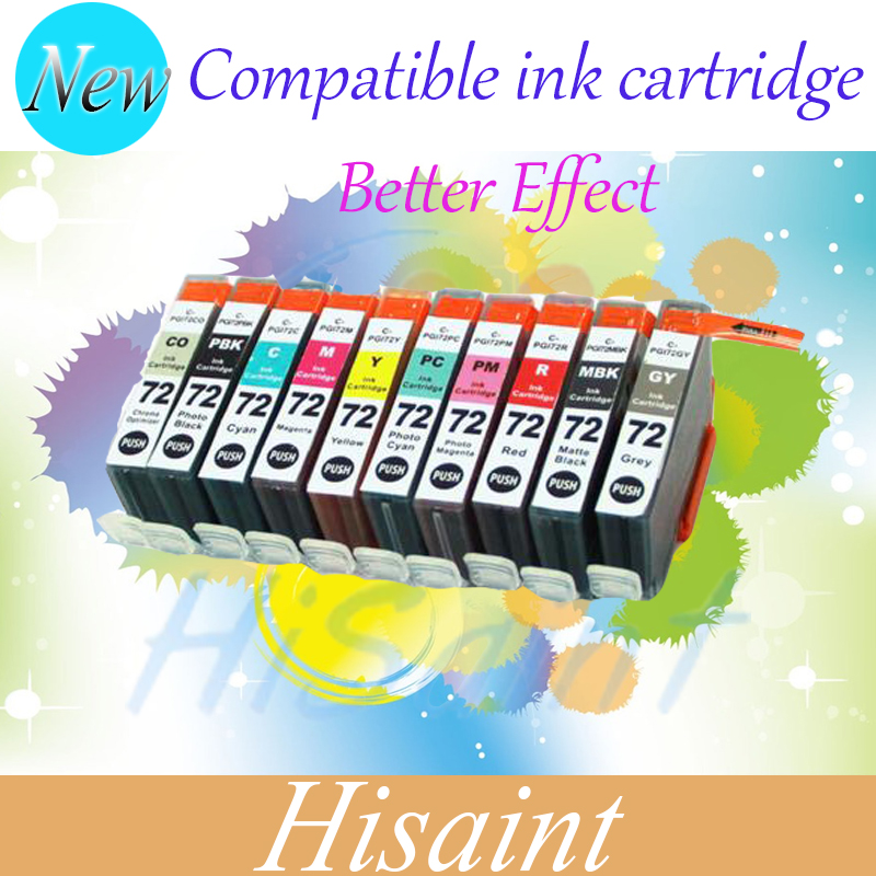 ФОТО One Set (10 pks) Compatible colored ink Cartridge PGI-72 PGI72 PGI 72 For Canon Pixma Pro-10 inkjet printer on sell printer ink
