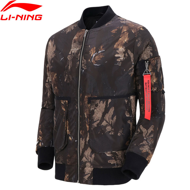 Li-Ning Men Basketball BAD FIVE Wadded Coat 100% Polyester Filling Warm Li Ning LiNing Sport Bomber Jacket AJMN015 MWM1912