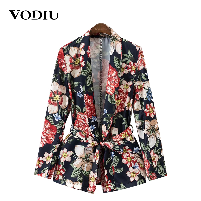 Vodiu Women Blazer Jacket Sashes Women Suit Jacket Female Floral Vintage Ladies Blazers 2017 Notched Collar Outwear Women Suit