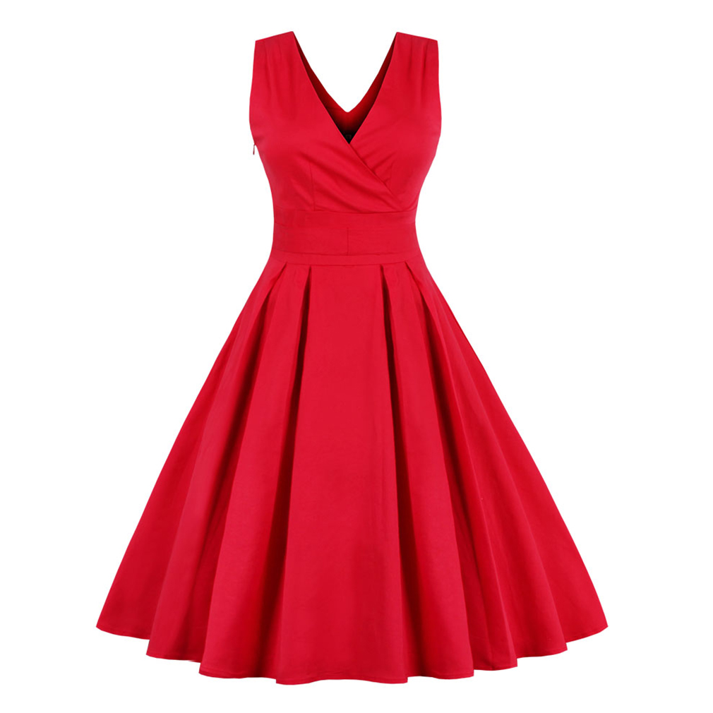 Women Elegant Red Vintage Dress Stretchy Cotton Plus Size M 4XL 50S 60S Party Prom Swing