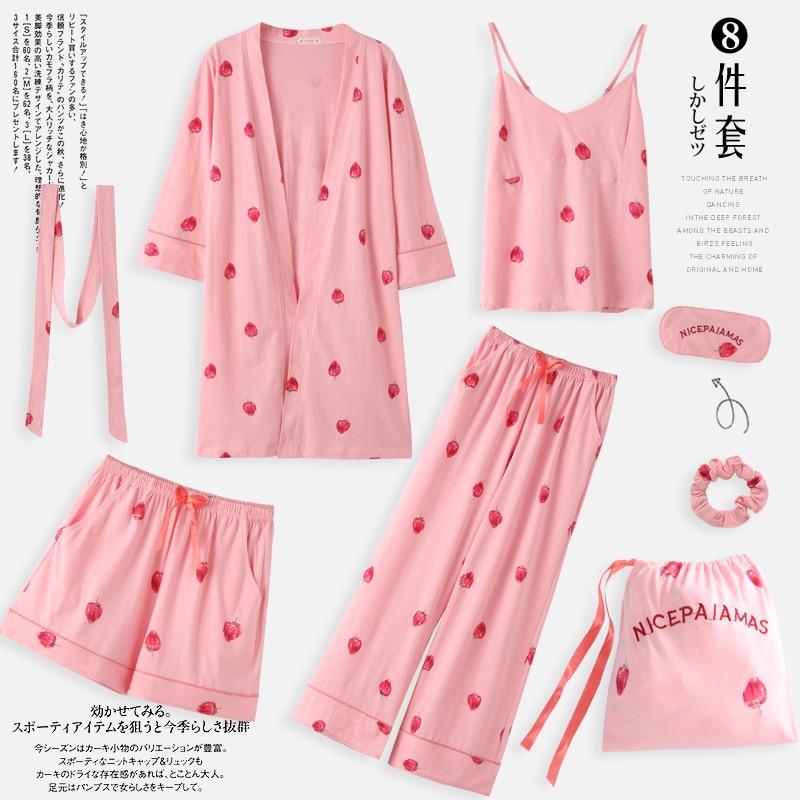 Strawberry Pajamas, Spring, Autumn, Long Sleeves, Pure Cotton Kimono Nightgowns, Seven Piece Set, Summer Winter Sexy Home Clothe
