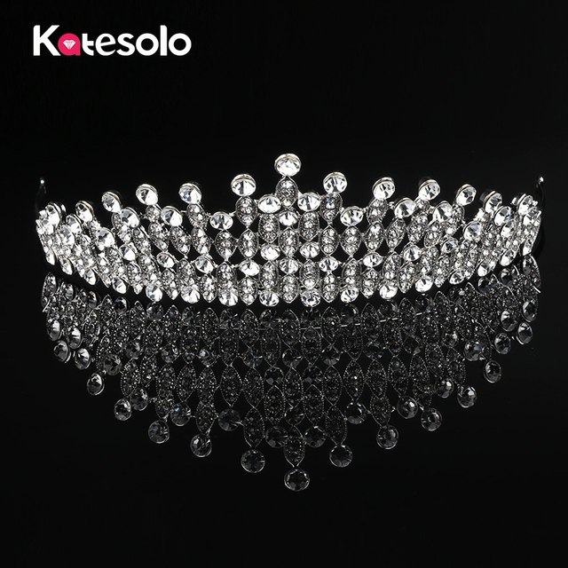 Luxury Big Wedding Bridal Crystal Tiaras Crowns Princess Queen Pageant Prom  Rhinestone Tiara Headband Wedding Hair Accessories d1280dd37381