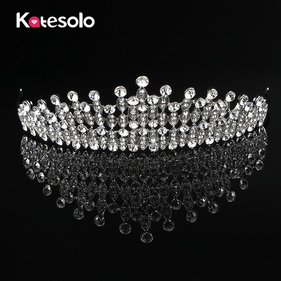Luxury Big Wedding Bridal Crystal Tiaras Crowns Princess Queen Pageant Prom Rhinestone Tiara Headband Wedding Hair Accessories