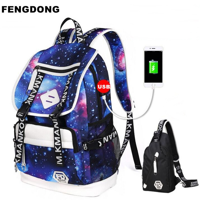 3ec6a127ee Best buy FENGDONG 2PCS USB Backpack Space Bagpack Oxford Printing School Bag  For Teenage Girl Boy Pencil Case Travel Shoulder Bag Mochila online cheap