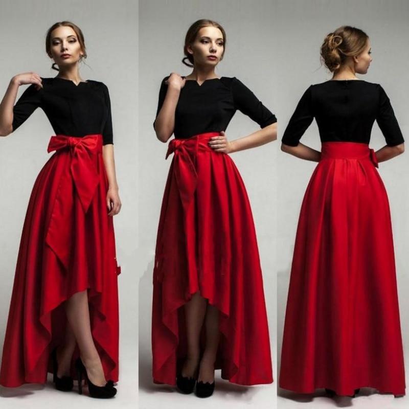 Cintura Plisada Rojo Baja Con Cintas Asimétrico De Falda Longitud Raso Faldas Alta Por Mujeres Piso Encargo qwPawE