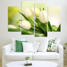 4 Piece White Tulip Flower HD Wall Modular Picture Decorative Art Print Painting On Canvas For Living Room No Frame