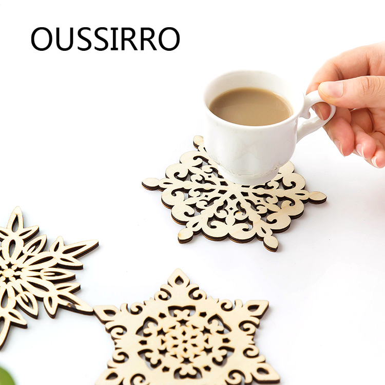 3Pcs/se Random Shape Wood Snowflake Cute Coaster Kitchen Placemat Coffee Cup Mats&Pads For Home&Office Table Mat
