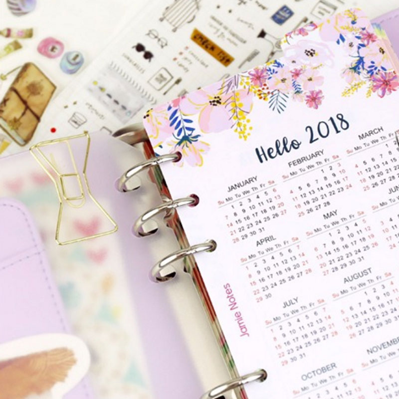 Merveilleux Cute Cartoon Happy 2018 Year Calendar Index Paper Divider For 6 Holes Diary  Binder Weekly Planner Binder Notebooks A5 A6  In Notebooks From Office U0026  School ...