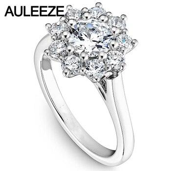 585af0eafccc Amor con flor laboratorio crecido diamante 14 K oro blanco anillo de  compromiso