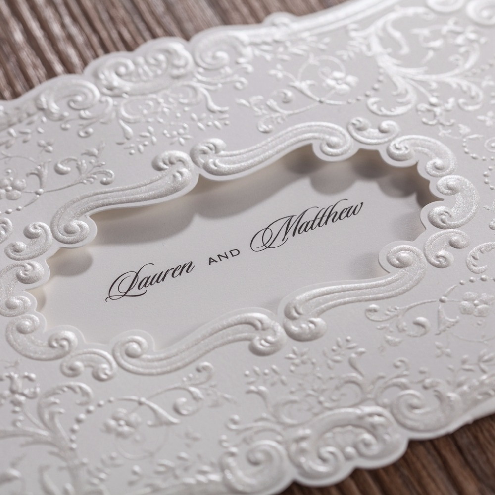 100pcs/Lot Elegant Wedding Invitation Card White Color Flower ...