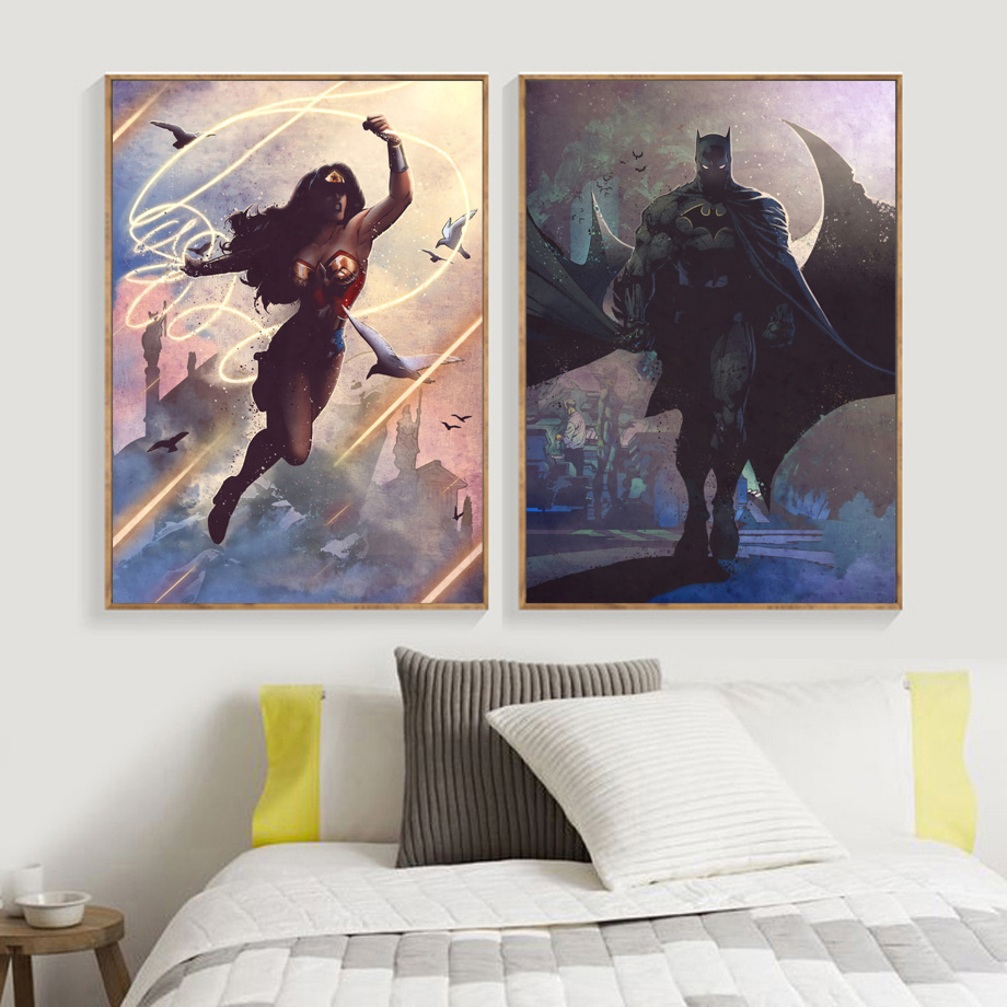 Batman Wonder Woman Green Lantern Wall Art Canvas Painting Nordic Posters And Prints Wall Pictures For Living Room Decor