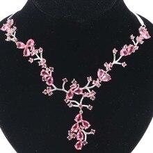 купить!  Потрясающие 25 5 г Розовый Турмалин Женщины Обручальное Серебряное Ожерелье 18 5-19 дюймов 58x48 мм дешево!