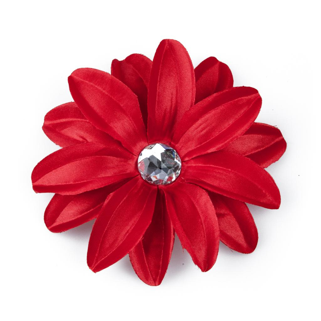 Barrette Hair Clip with Lily Flower and Strass for Baby Girls Women - Red