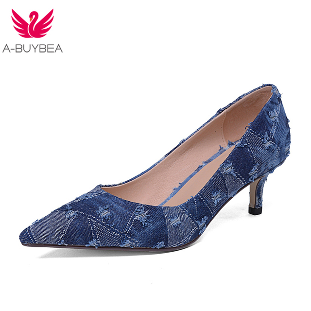 Dora Tasia denim eourpean style big size 33-43 pointed toe women shoes sexy thin high heel brand design lady party wedding pumps