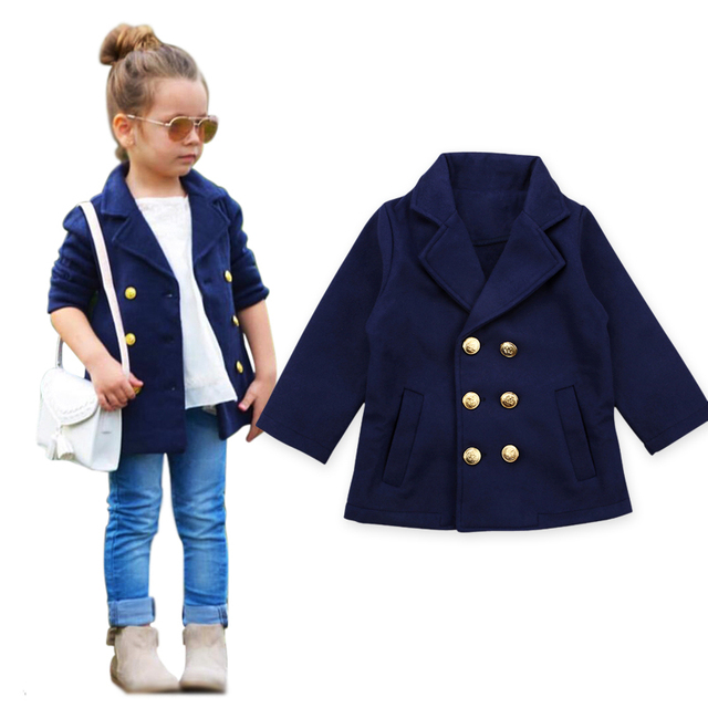 bbfd956c59e5 Autumn Winter Kids Drak Blue Jackets Baby Children Girl Coat Jacket ...