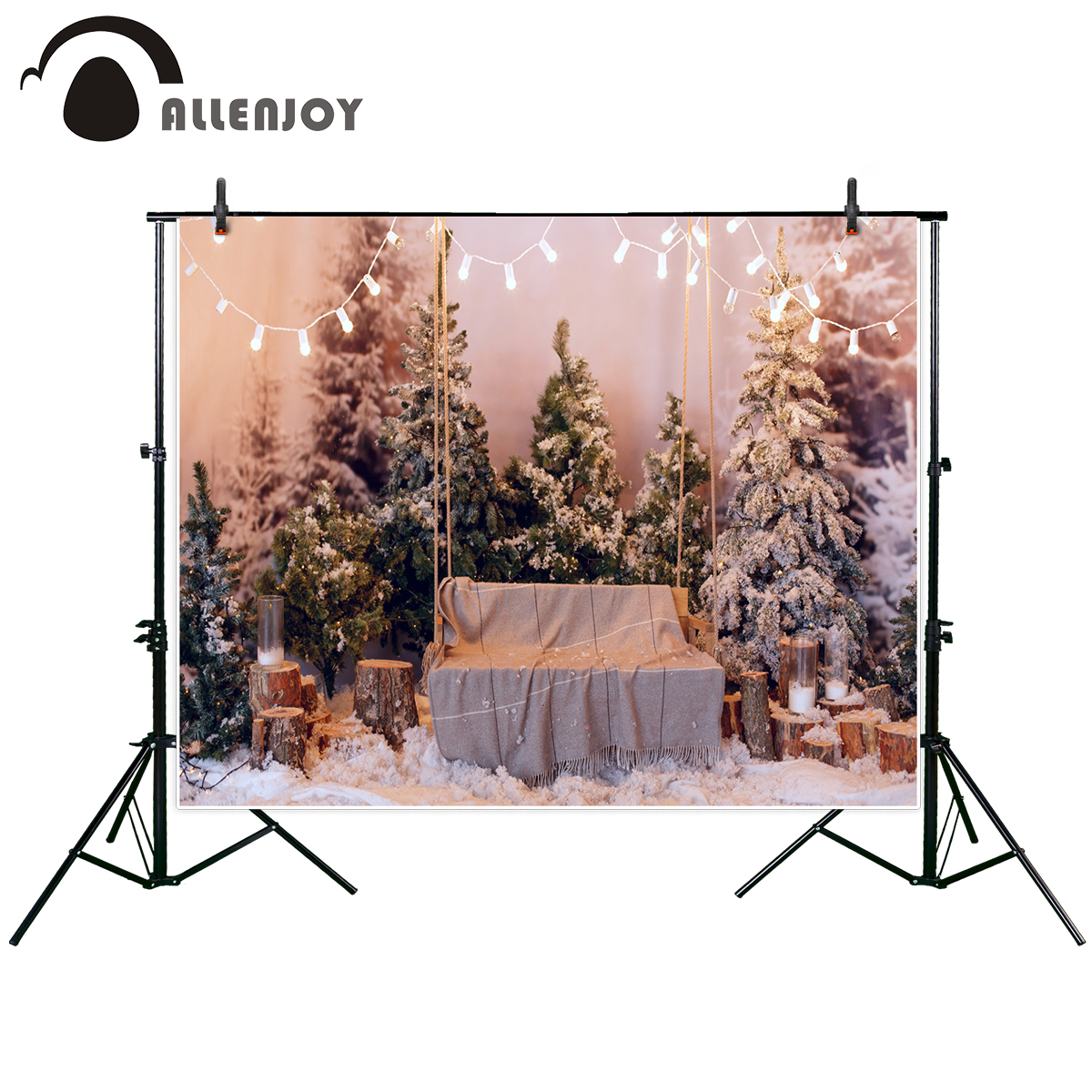Allenjoy new arrivals photo backdrop Beautiful cozy Christmas interior snow-covered trees bench backdrop photocall photo printed