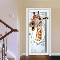 Funlife Imitation 3D Giraffe Door Sticker Self Adhesive Wall Decor For Living Room Bedroom Pvc Waterproof