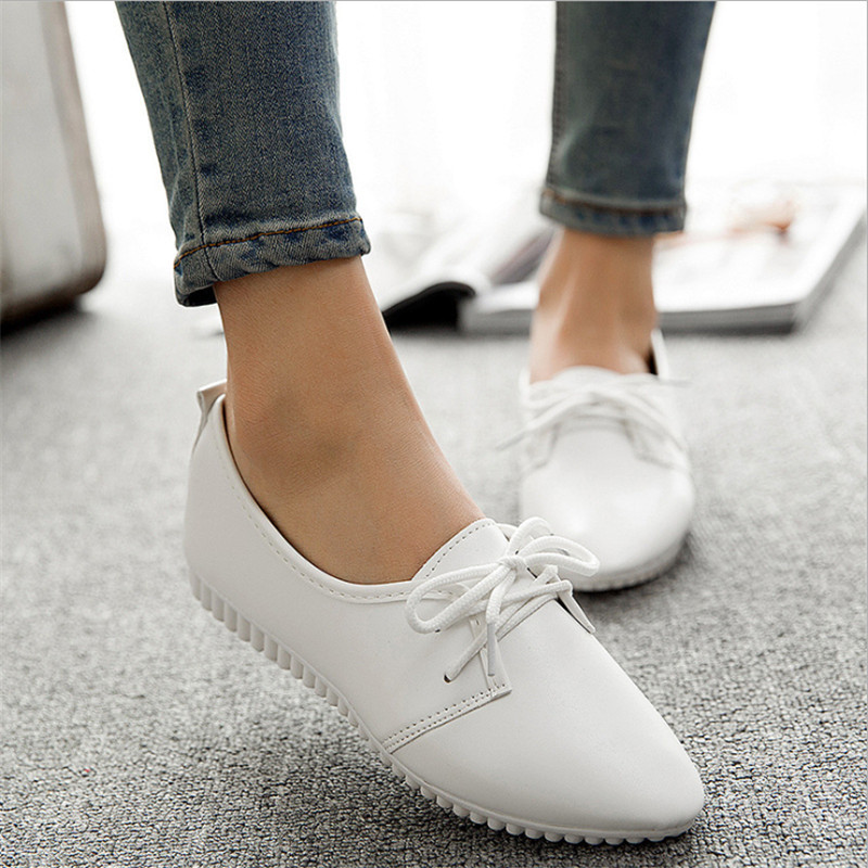 2018Women's Spring Solid Shoes Wild Lace-up Shallow Single Flat Shoes