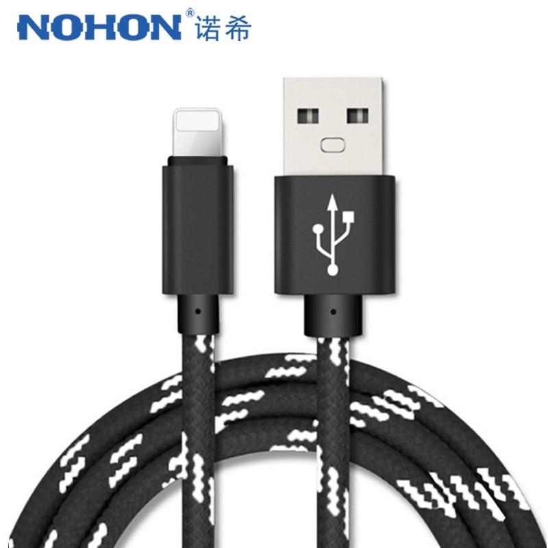 Nohon usb cabo de carregamento de dados para iphone 7 8 6 5 6s mais x xs max xr para ipad mini 2.2a 1 m telefone móvel carregador rápido cabo de náilon