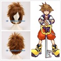 Free Shipping New 2016 KINGDOM HEARTS II Sora Short Brown Heat Resistant Anime Cosplay Wig+a wig cap