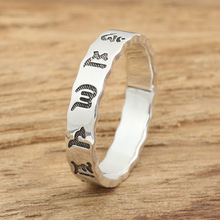 Silver jewelry handmade silver rings  retro fine version of male and female six words ring