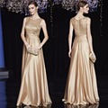 Barato Azul Royal De Cetim Ouro Vestidos de Noite Longos Plus Size Elegante vestidos formais Vestidos de Festa para a Mãe da Noiva Vestidos Plus Size