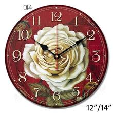 Vintage Burgundy White Rose MDF Wall Clock Kitchen Antique Shabby Chia Retro Home