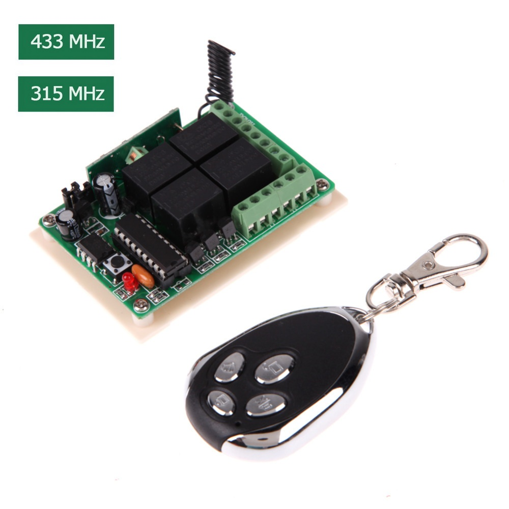 DC 12V 4 Channel 315MHz/433MHz Long Use Time Remote Control Switch With Remote