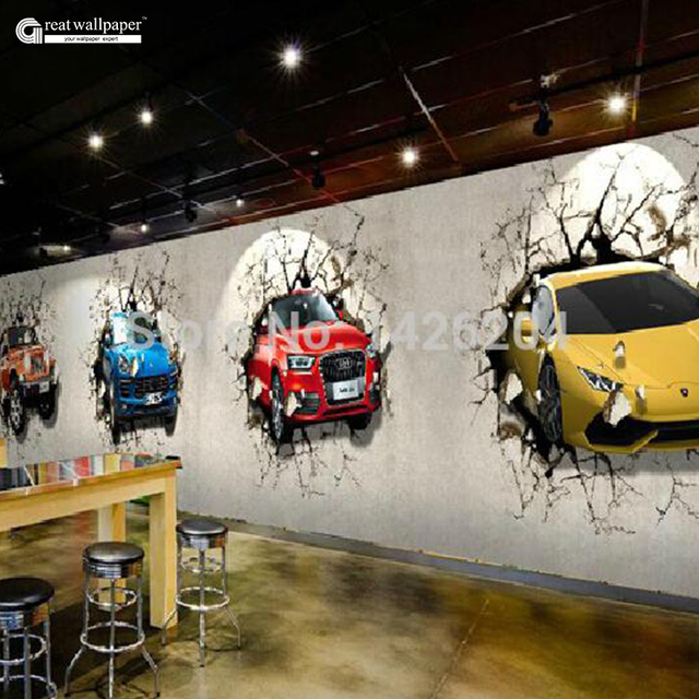 Great Wall Custom 3d Car Broken Wall Mural Wallpaper Office Personality  Restaurant And Bar,TV Good Looking